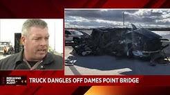 Crash leaves semi dangling off Dames Point Bridge