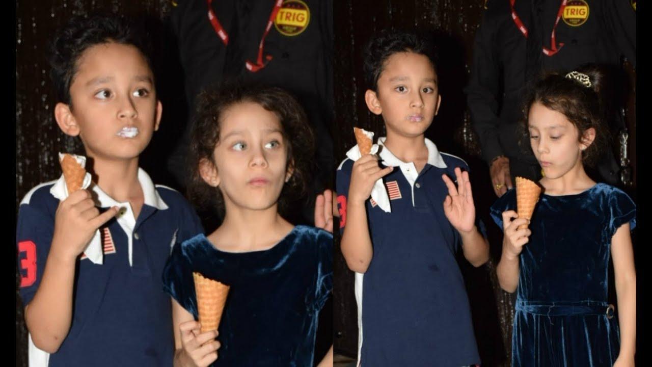 Sanjay Dutt Kids Shahraan and Iqra Eating Ice-Cream At Aaradhya Bachchan  Birthday Party 2017