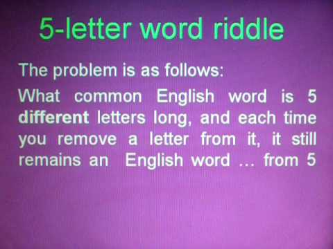 Letter Word Riddle Answer