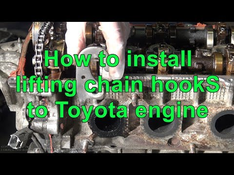 How to install lifting chain hooks to Toyota engine. Years 1990 to 2010