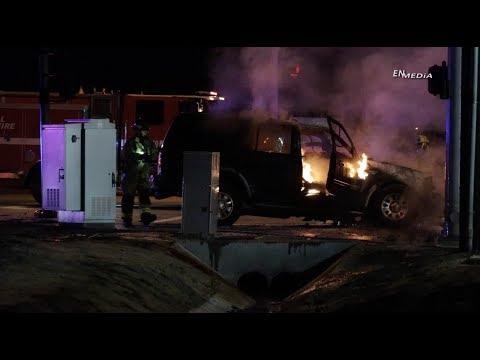 San Jacinto, CA: Fiery Crash Into Pole