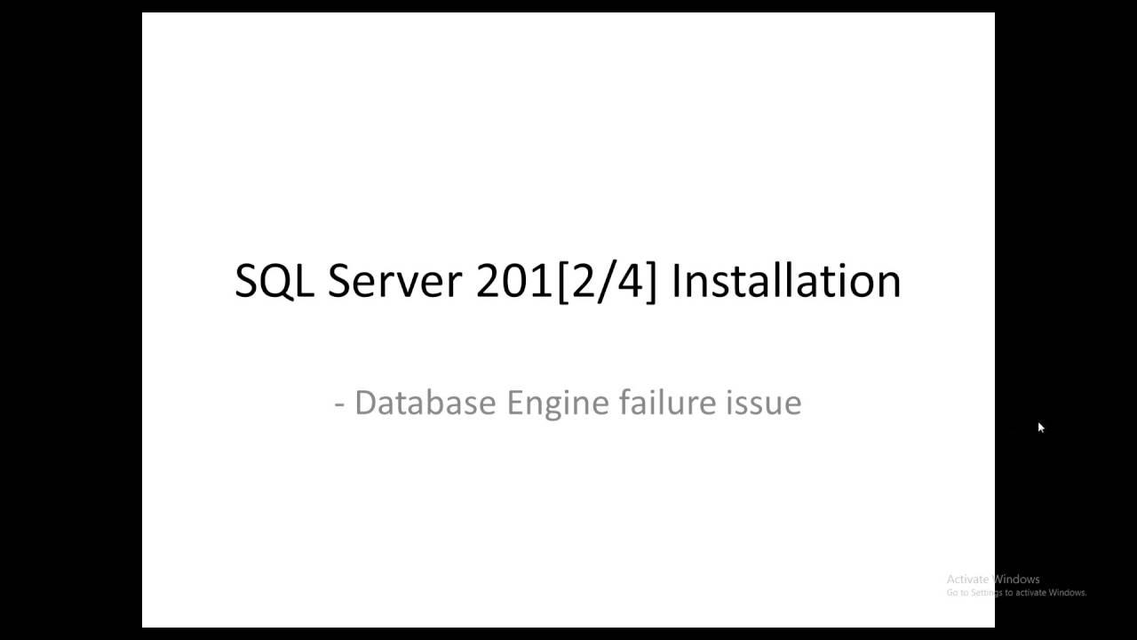 Database Engine Services failed