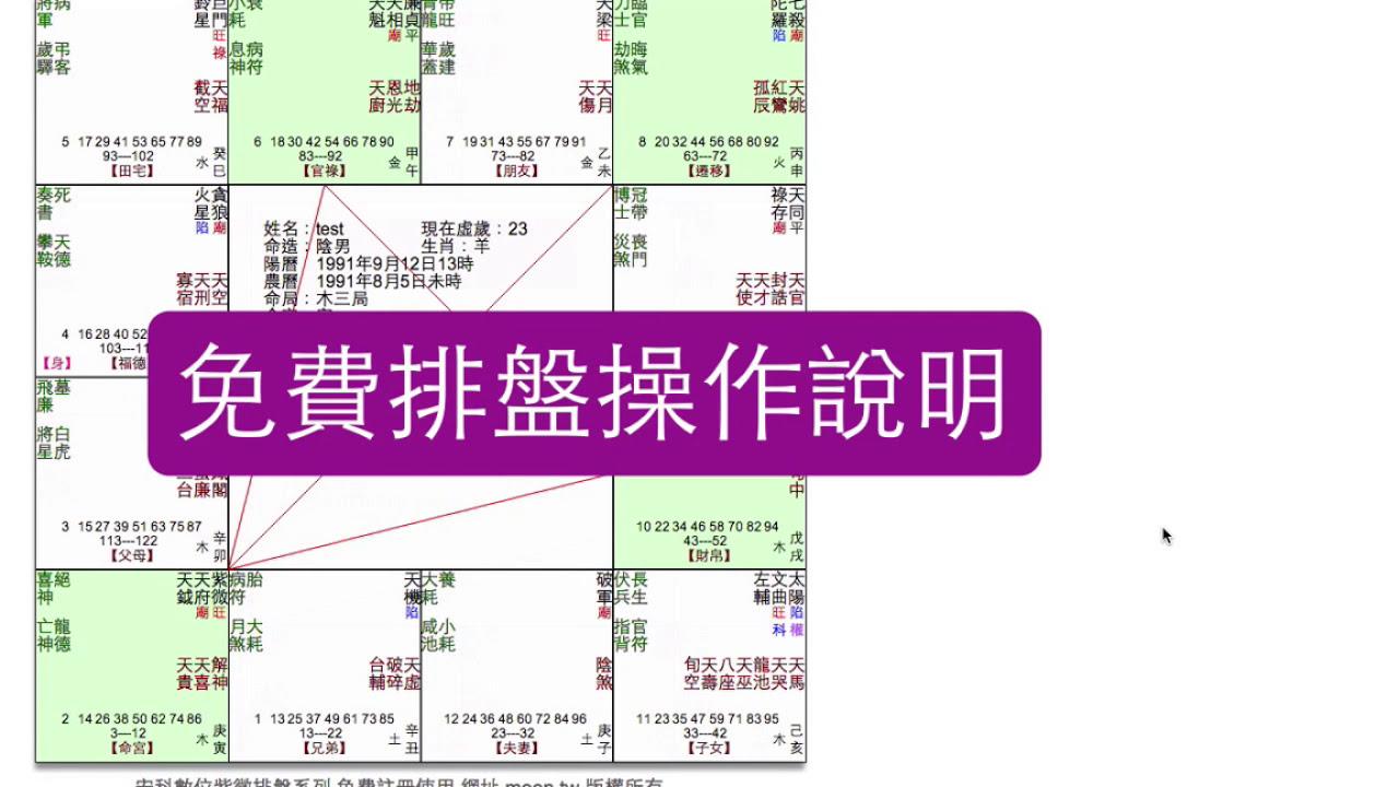 meen.tw 星鑰排盤 - 免費 紫微斗數排盤 - YouTube