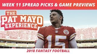 2018 Fantasy Football — Week 11 Spread Picks, NFL Game Previews & Cust vs Technology