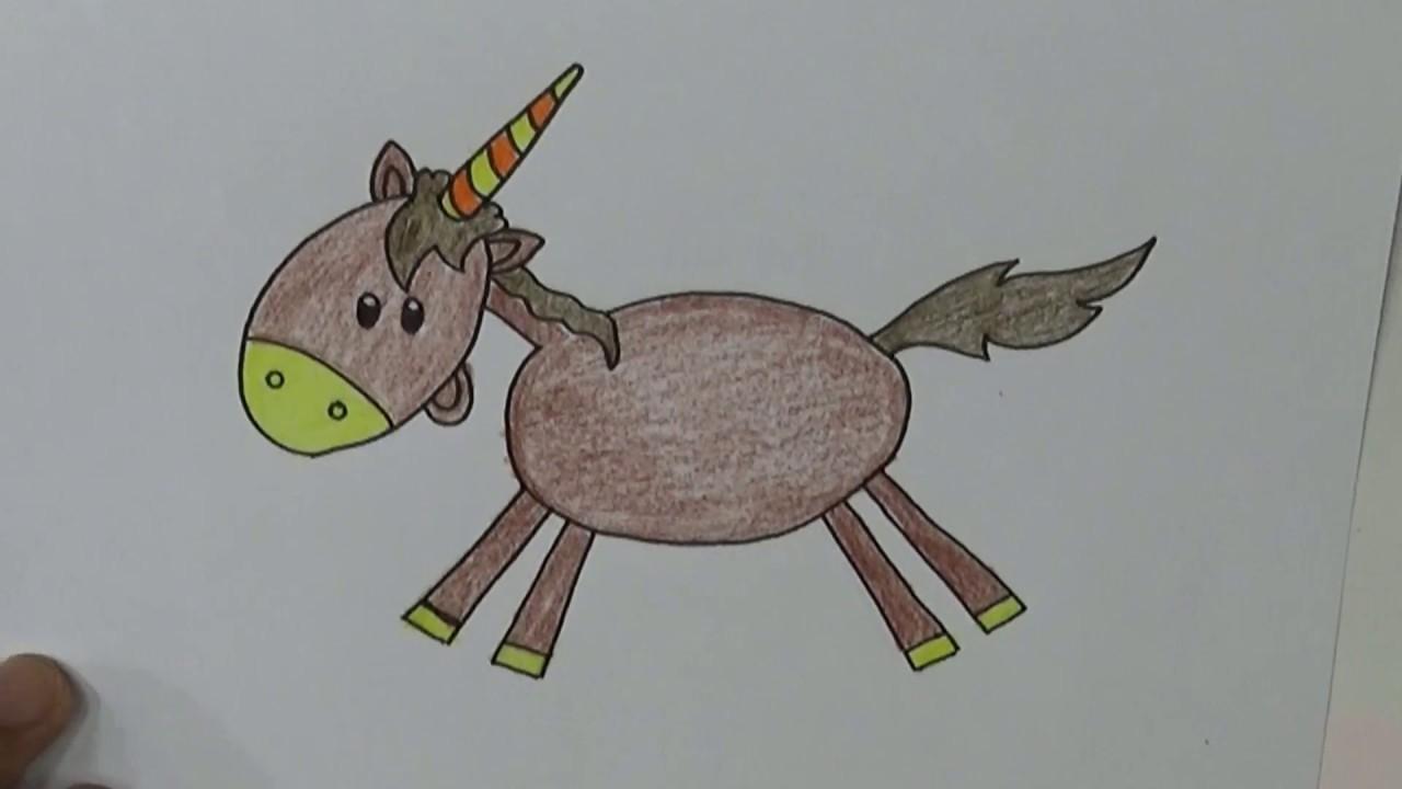 Belajar Cara Menggambar Dan Mewarnai Dengan Mudah Menggambar Kuda
