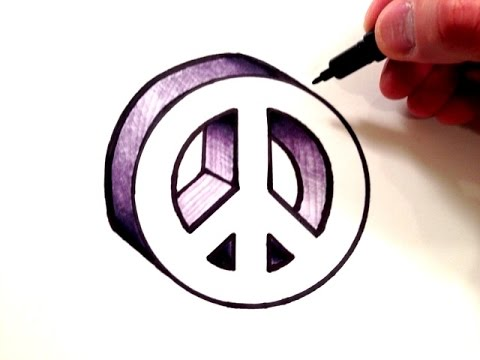 How To Draw A Peace Sign In 3d Youtube
