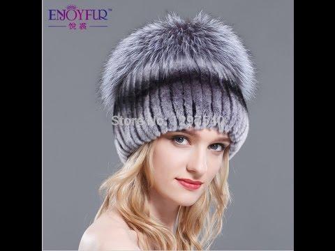модная вязанная меховая шапка с отделкой из чернобурки купить шапку