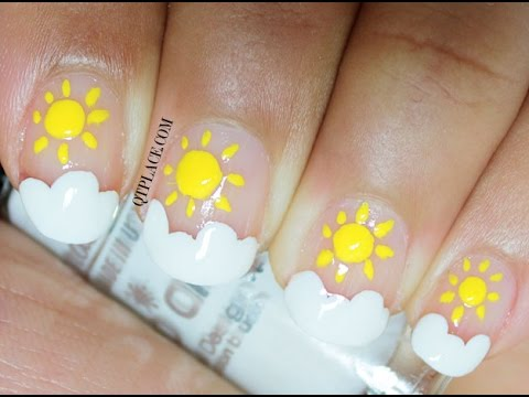 Nail Art For Beginners Sun And Cloud Nail Art Youtube
