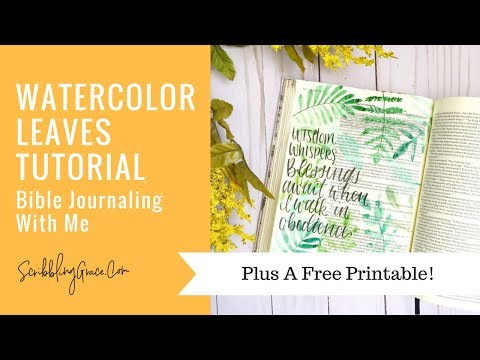 Bible Journaling With Me- Watercolor Leaves Tutorial