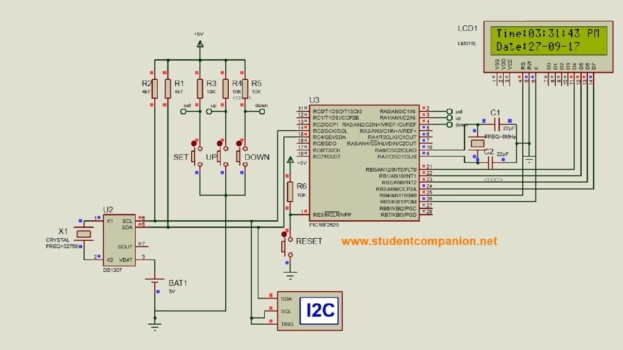 Mikroc Pro For Pic Tutorial 40 Project 8 Digital Clock With Ds1307 7 Segment Circuit Diagram Rtc Part 1
