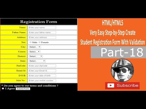 How To Create Student Registration Form With Validation In HTML/HTML5 - Easy Steps - (Part 18)