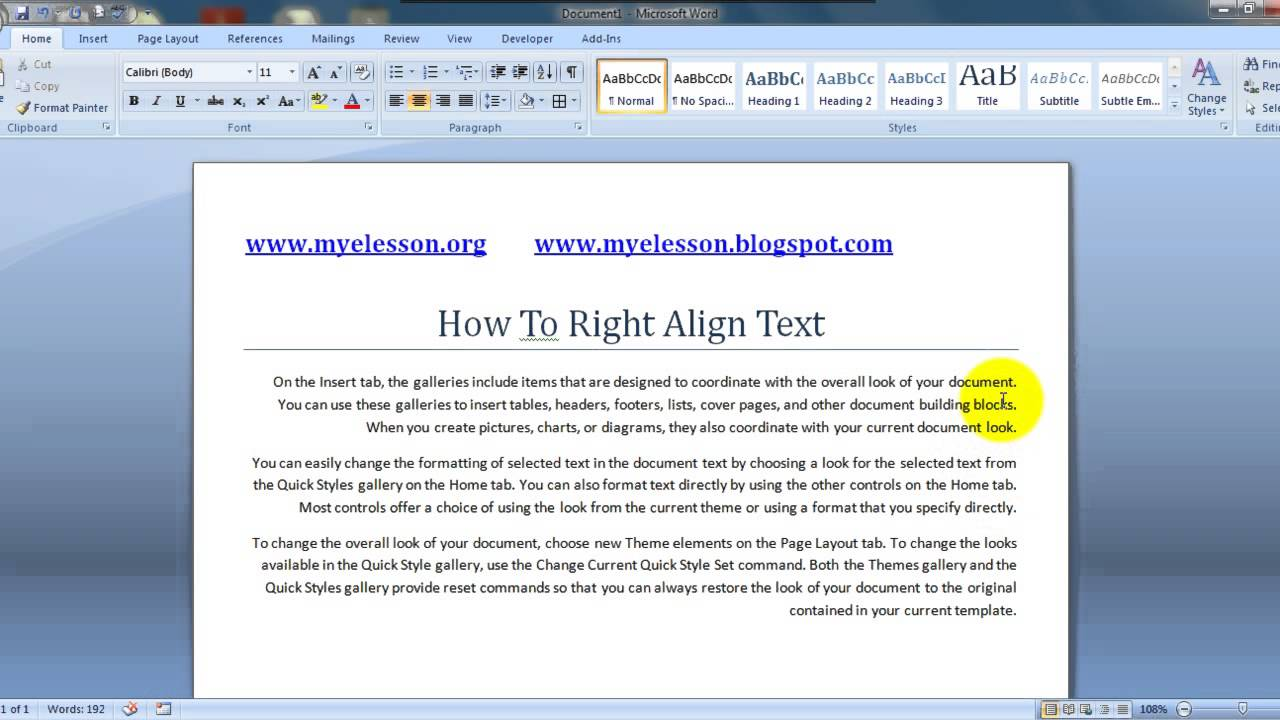Ms Word Right Align Text English  Youtube