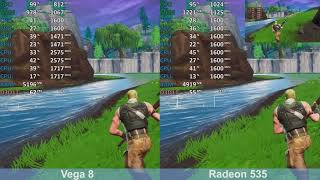 AMD Radeon 535 vs Ryzen 5 2500U Vega 8 - Fortnite Season 8