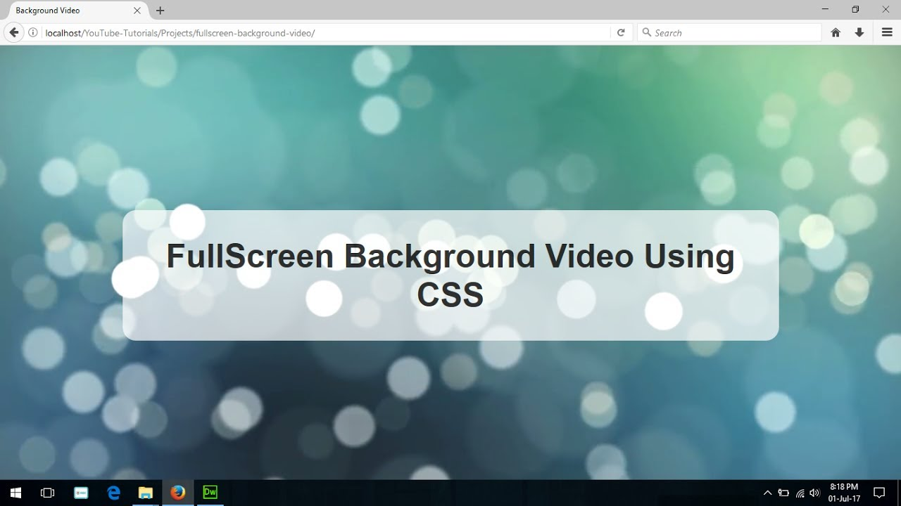 Fullscreen Background Video Using Css3 & Html5, Html Css Background Video,  Html5 Loop Video