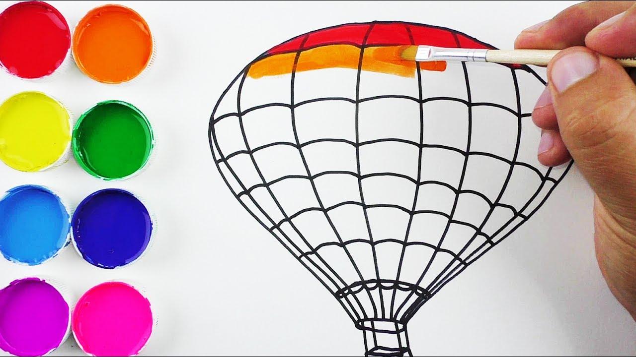 Cmo Dibujar y Colorear un Globo Aerosttico de Arco Iris  Arte y