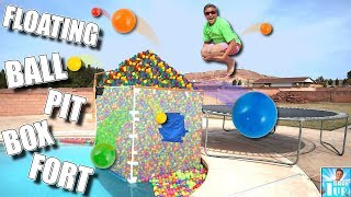 GIANT FLOATING BALL PIT BOX FORT!! 📦 💦🔴