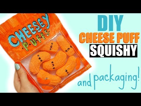 DIY CHEESE PUFF SQUISHY!! WITH PACKAGING!