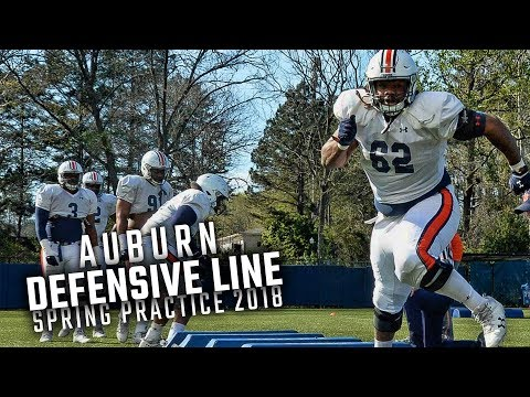 Watch Auburn DL coach Rodney Garner and his unit run drills on Day 6 of spring practice