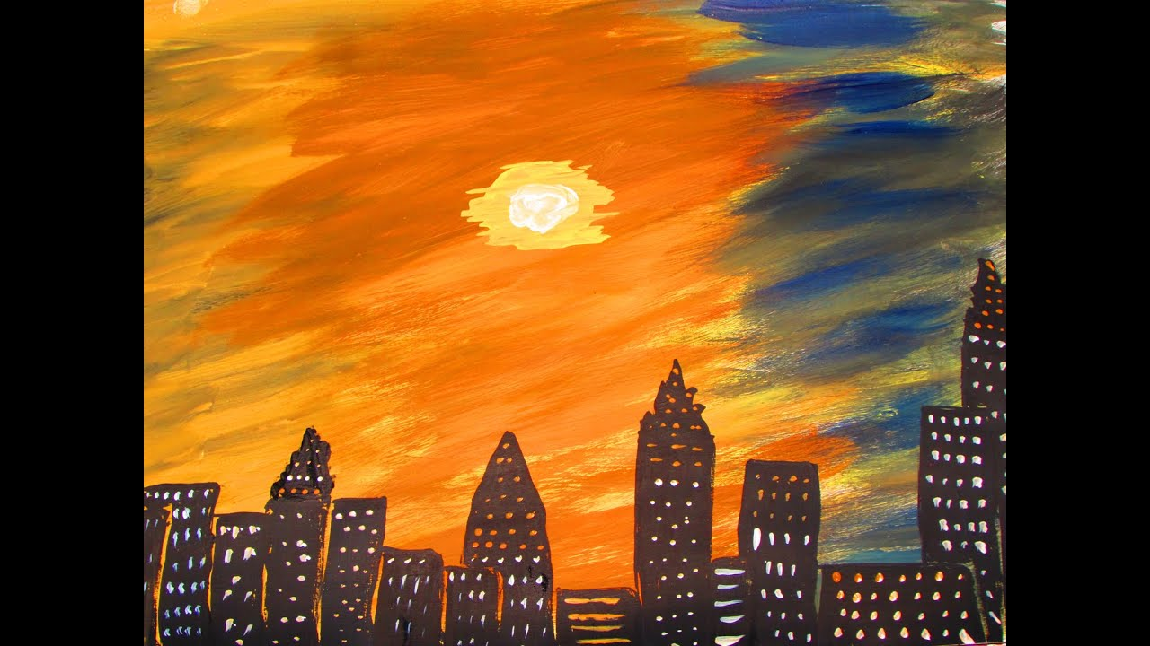 how to paint and make sunset and buildings acrylic
