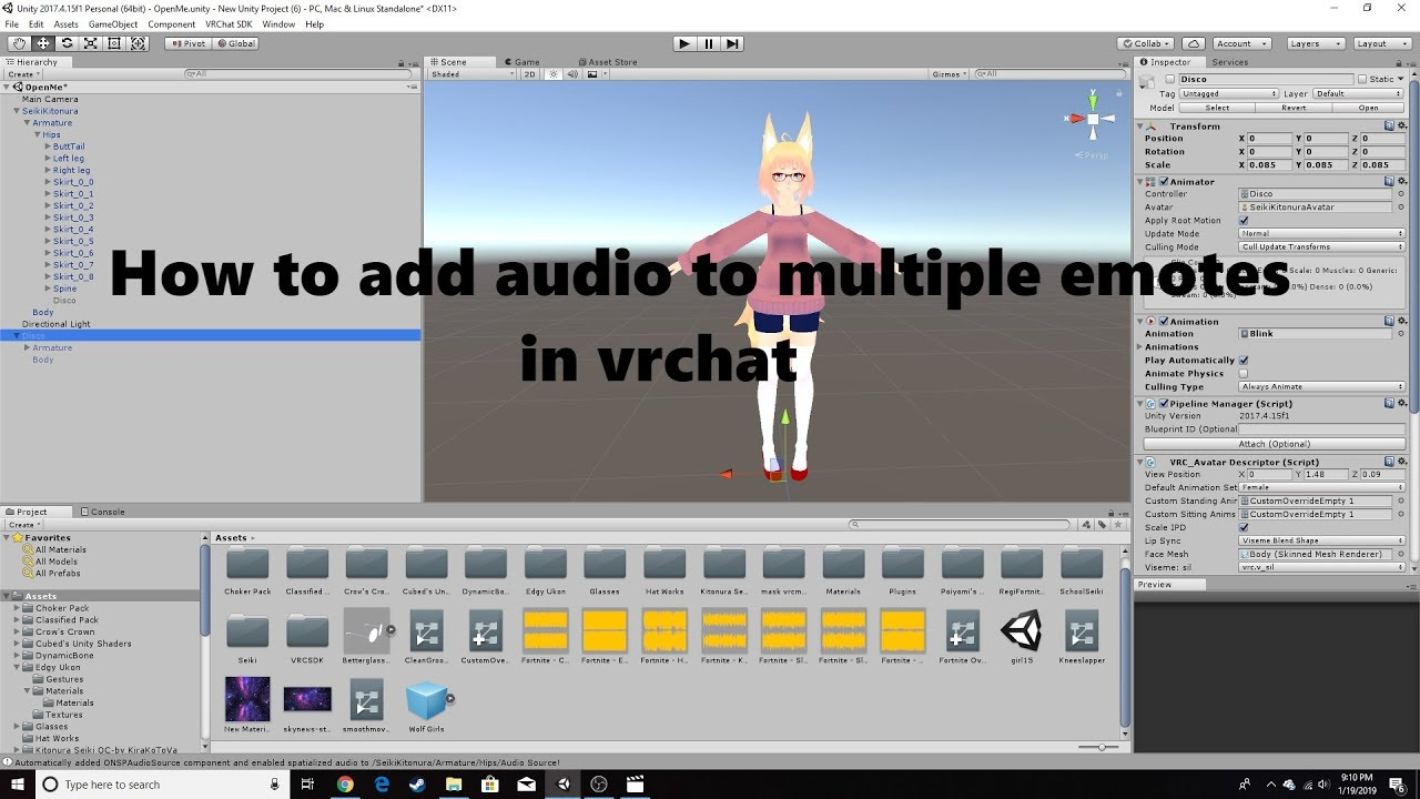 How to add audio to multiple emotes in Vrchat