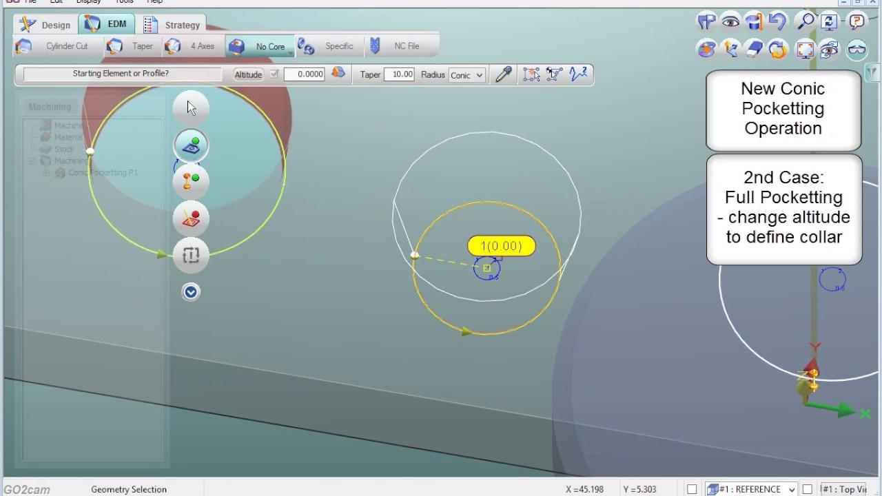 GO2cam v6.04 - Wire EDM - Conic Pocketting - YouTube