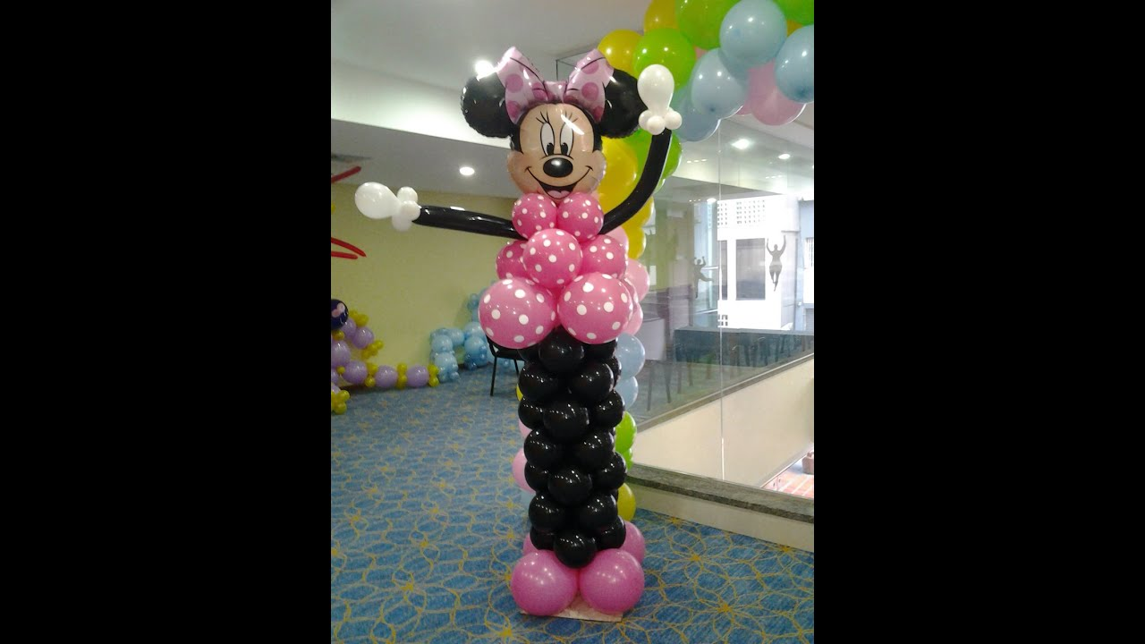 Como hacer una minnie con globos / how to make minnie ...