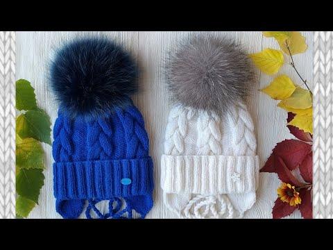 Детская шапка спицами схема для девочек