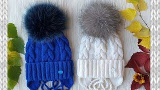 Детская шапка. Шапка спицами. Зимняя шапка.