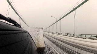 Mackinac Bridge crossing during snow storm