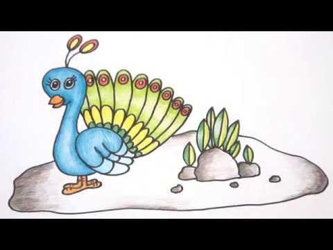 นกยูง สอนวาดรูปการ์ตูนน่ารักง่ายๆ ระบายสี How to Draw Peacock Cartoon Easy for Kids