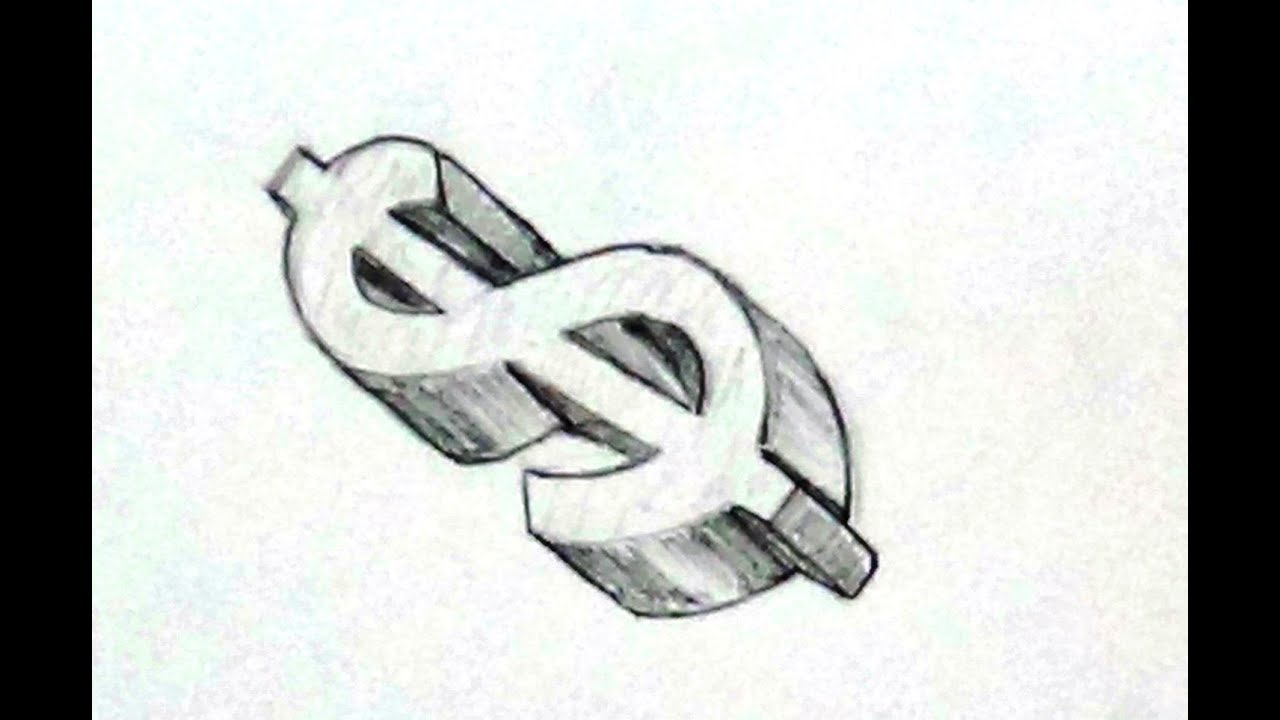 How To Draw Dollar Sign For Beginners In 3d