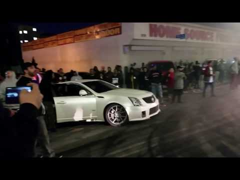 Crenshaw Takeover Sunday funday -  Birds Eye View l Burnout Compilation l CTS-V Explodes tires