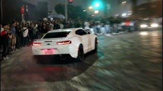 DRIFTING CAMARO LOSES CONTROL INTO HUGE CROWD!