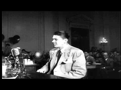 Actor Ronald Reagan  testifies before House Un-American Activities Committee in W...HD Stock Footage