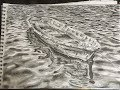 Pencil drawing of a boat on sea water | Waves | Speed drawing | P V Hanumanthu art