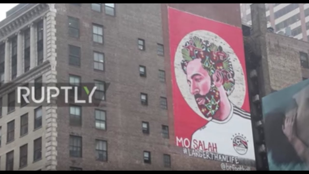 Foto Murales New York.Mo Salah Mural Adorns Times Square Ahead Of Wc 2018