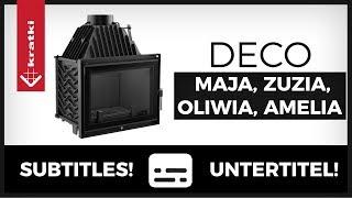 Kominki żeliwne DECO - wkłady kominkowe Maja, Zuzia, Oliwia, Amelia KRATKI, dolot, żeliwo, ruszt