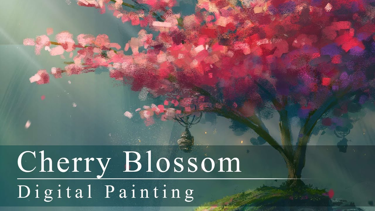 Digital Painting Cherry Blossom With Annotations
