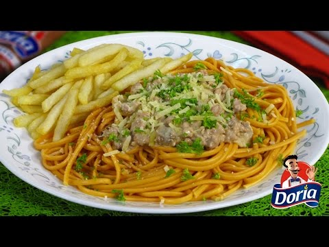 Spaghetti Doria Sabor Ranchero con Carne de Cerdo y champiñones