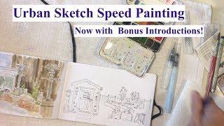 Urban Sketch Community Garden Speed Painting
