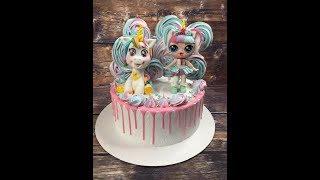 оформление и установка фигурок на кремовый торт/ how to set topper lol and unicorn on a cake