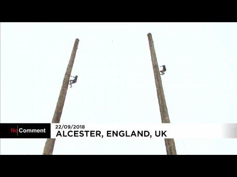 Campeonato mundial de subida aos postes no Reino Unido