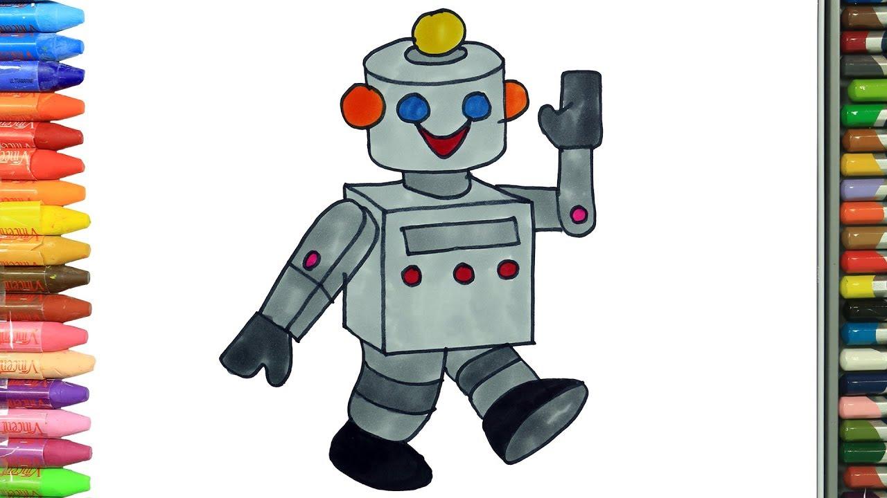 Cómo Dibujar Y Colorear El Robot Dibujos Para Niños