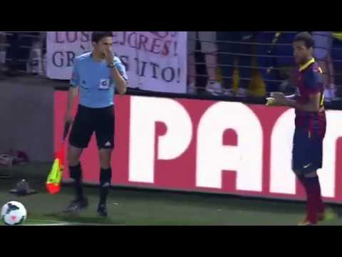 Villareal Barcelona FC   Dani Alves eats banana Original Video