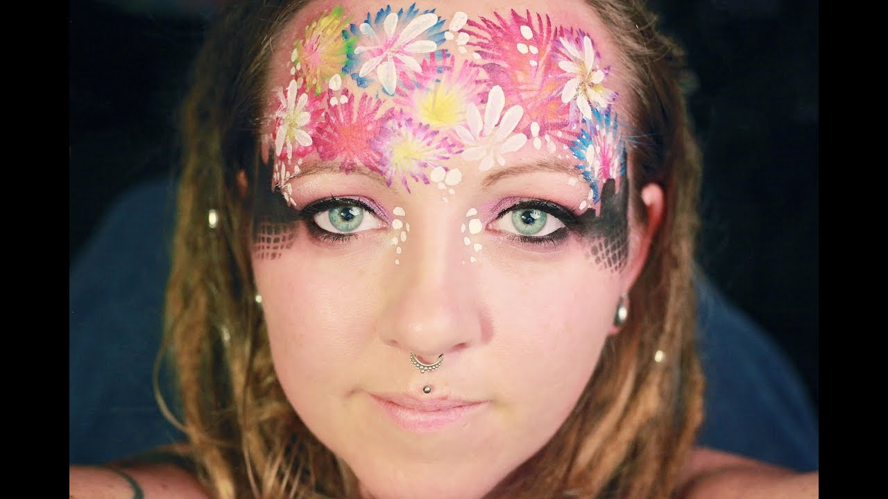 Face Paint New Years Eve Fireworks Mask One Stoke Design Tutorial Easy Youtube