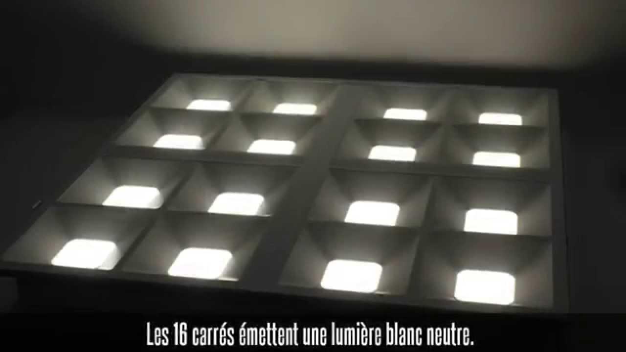 dalle led effet grille de n on 40w 610 x 610 blanc neutre youtube. Black Bedroom Furniture Sets. Home Design Ideas