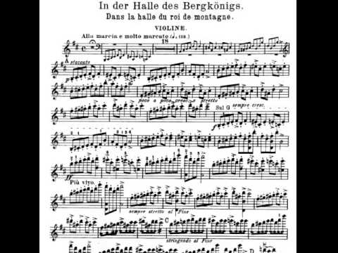 Peer Gynt no 1 op 4 IV In the Hall of mountain king Violin Sheet Music