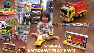 Toddler's Toys: A Yellow Construction Dump Truck Unboxing and Thomas & Friends Play Set