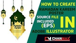 كيفية إنشاء رمضان كريم ملصق ل Adobe Illustrator l Chanmax المصممين