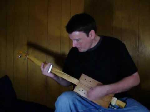 """Voodoo Child"" Cigar Box GUITAR fretless slide 3 string Jimi Hendrix cover CBG junk Mark Stowe"